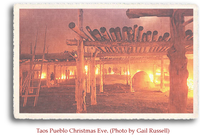 Taos Pueblo Christmas Eve. Photo by Gail Russell.