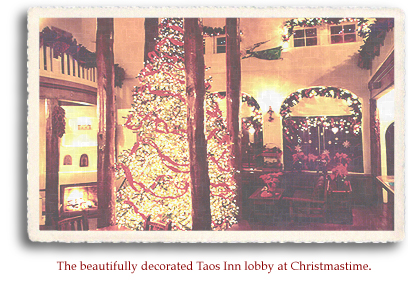 The beautifully decorated Taos Inn lobby at Christmastime. Photo courtesy Taos Inn.