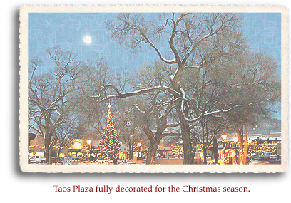 Taos Plaza in Taos, New Mexico, fully decorated for the Christmas season.